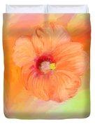Peach Hibiscus Duvet Cover