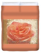 Peach Rose Anniversary Card Duvet Cover