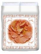 Peach Rose Sqrare Digital Paint Duvet Cover