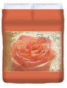 Peach Rose Thank You Card Duvet Cover