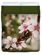 Peach Tree Blossoms Duvet Cover