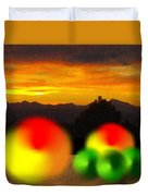 Peaches And Limes On A Colorado Mountain Top Duvet Cover