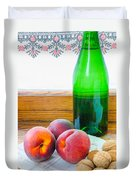 Peaches And Walnuts With Bottle Duvet Cover