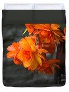 Peachy Begonias Duvet Cover