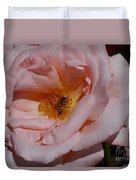Peachy Petals And Bee Duvet Cover