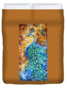 Peacock Abstract Bird Original Painting In Bloom By Madart Duvet Cover