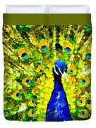 Peacock Abstract Realism Duvet Cover