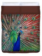 Peacock And Red Barn Duvet Cover