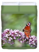 Peacock Butterfly  Inachis Io  On Buddleia Duvet Cover