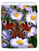 Peacock Butterfly Perched On The Daisies Duvet Cover