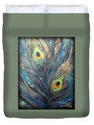 Peacock Eyes Duvet Cover by Elena  Constantinescu