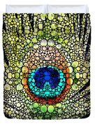Peacock Feather - Stone Rock'd Art By Sharon Cummings Duvet Cover