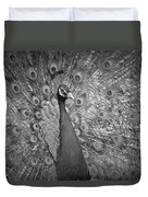 Peacock In Black And White Duvet Cover