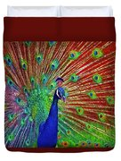 Peacock In Front Of Red Barn Duvet Cover
