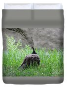 Peacock In The Grass Duvet Cover