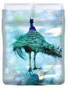Peacock Walking Away Duvet Cover