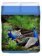 Peacocks In The Garden Duvet Cover
