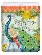Peacocks In The Rose Garden-3 Duvet Cover