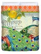 Peacocks In The Rose Garden Duvet Cover