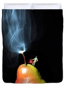 Pear And Smoke Little People On Food Duvet Cover
