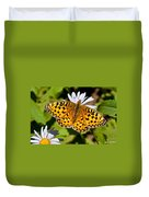 Pearl Border Fritillary Butterfly On An Aster Bloom Duvet Cover