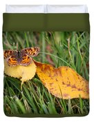 Pearl Crescent Butterfly On Yellow Leaf Duvet Cover