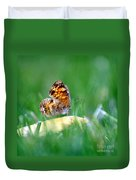 Pearl Crescent Butterfly Square Grass Duvet Cover