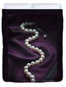 Pearl Necklace On Purple Silk Duvet Cover