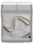 Pearls And Old Linen Duvet Cover