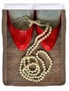 Pearls In Red Shoes Duvet Cover