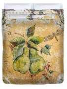 Pears And Dragonfly On Vintage Tin Duvet Cover