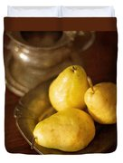 Pears And Great Grandpa's Silver Duvet Cover