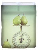 Pears And Kitchen Scale Still Life Duvet Cover