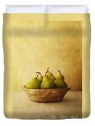 Pears In A Wooden Bowl Duvet Cover
