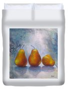 Pears On Blue Original Acrylic Painting Duvet Cover