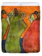 Pears Surrealism Art Duvet Cover by Blenda Studio