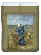Peasant Woman Binding Sheaves - After Millet Duvet Cover