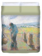 Peasants In The Fields Duvet Cover by Camille Pissarro