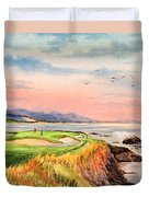 Pebble Beach Golf Course Hole 7 Duvet Cover by Bill Holkham