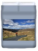 Pedalling The Pass Duvet Cover