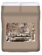 Pedestrian Bridge In The Snow Duvet Cover