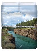 Pedestrian Bridge Over Yukon River In Miles Canyon Near Whitehorse-yk Duvet Cover