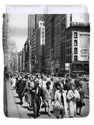 Pedestrians In New York Duvet Cover