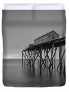 Peering Through The Clouds Bw Duvet Cover