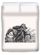Pegasus Tamed By The Muses Erato And Calliope Duvet Cover