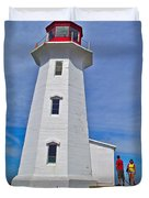 Peggy's Cove Lighthouse Closeup-ns Duvet Cover
