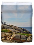 Peggy's Cove Lighthouse On The Rocks-ns Duvet Cover