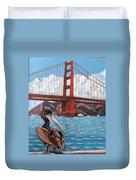 Pelican  And Bridge Duvet Cover
