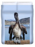 Pelican At Avila Beach Ca Duvet Cover