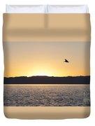 Pelican At Sunset Duvet Cover